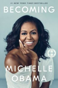 image shows book cover of Michelle Obama's book, Becoming