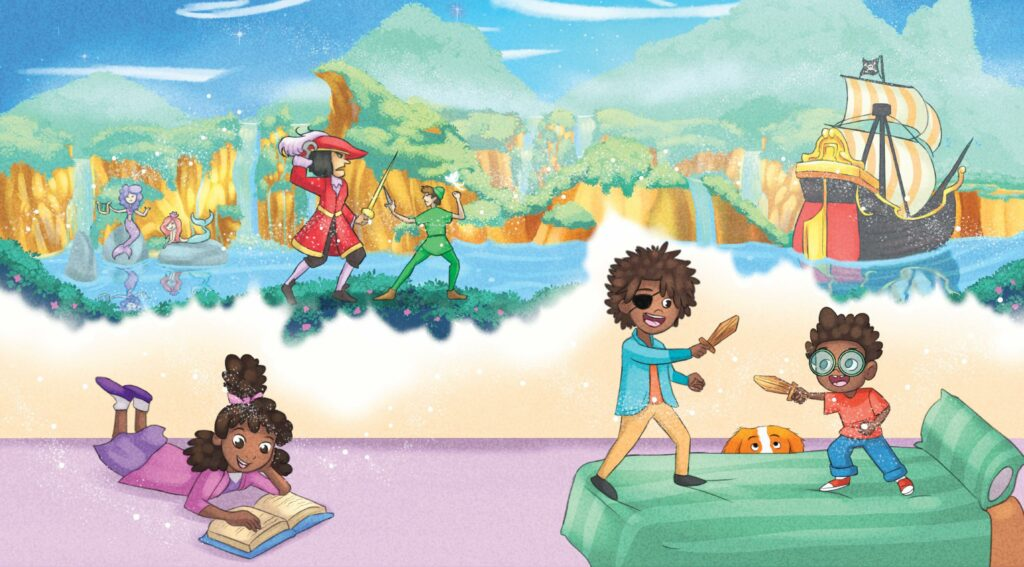 Image shows artwork from Peter Pan in Everland, depicting one child reading, and two children playing pirates.