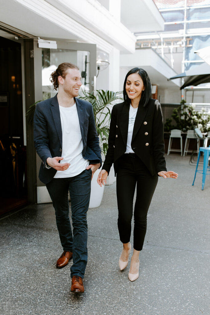 Image shows candid photo of Jono (left) and Pepe (right), cofounders of Balance Family Law.
